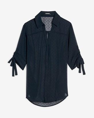 Express Clip Dot Tie Sleeve Shirt