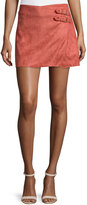 Bishop + Young Faux-Suede Side-Buckle Skirt, Coral