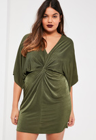 Missguided Plus Size Khaki Slinky Kimono Mini Dress