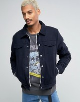 Asos Wool Mix Jacket With Borg Lining In Navy