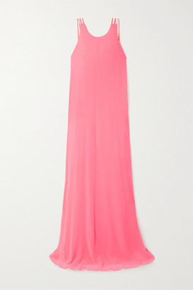 Halpern Neon Georgette Maxi Dress - Bright pink