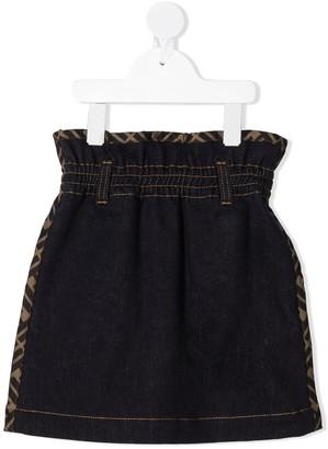 Fendi Kids FF-trim denim skirt