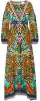 Camilla The Long Way Home Embellished Printed Washed-silk Maxi Dress - Green