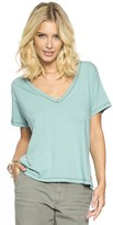 Peace Love World Solid Mineral Blue Marilyn V-Neck Tee
