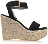 Stuart Weitzman Letsdance Black Suede Wedge Sandals