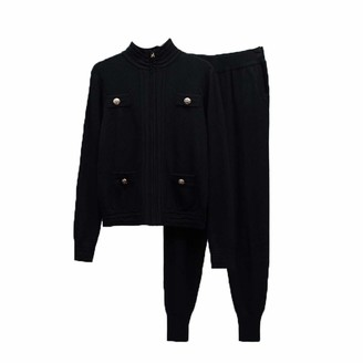 Wkd Thvb wkd-thvb Autumn Winter Vintage Gold Button Turtleneck Knitted Cardigan Sweater Coat + Harem Pants Sweatpants Set Female Black XL