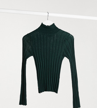 ASOS DESIGN Petite ribbed roll-neck jumper in dark green