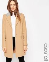 ASOS Tall ASOS TALL Coat with Contrast Collar