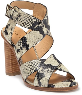 Joie Avery Snake Embossed Leather Block Heel Sandal