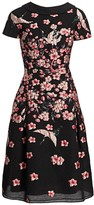 Teri Jon By Rickie Freeman Floral Jacquard A-Line Cap-Sleeve Dress