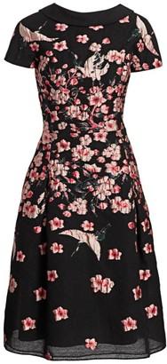 Floral Jacquard A-Line Cap-Sleeve Dress