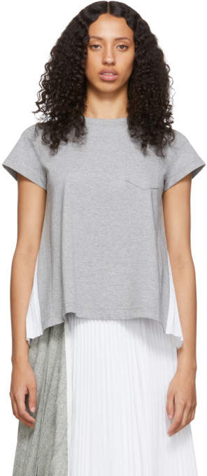 Sacai Grey and White Pleats T-Shirt