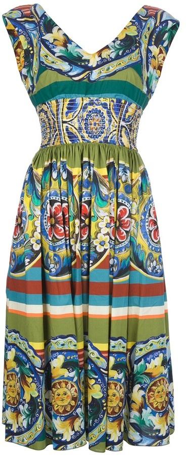 Dolce & Gabbana pleated mixed print dress