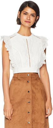 ASTR the Label Women's Connie Eyelet LACE Ruffle Sleeveless Crop TOP