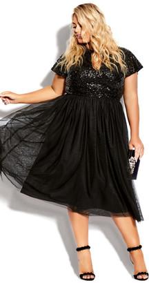 City Chic Sparkle Joy Dress - onyx