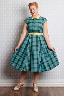 Miss Candyfloss Willow-Mint Tartan Shirt-Dress