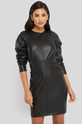 NA-KD Puff Sleeve Soft Pu Dress Black