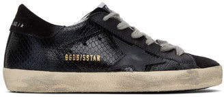 Golden Goose SSENSE Exclusive Black Python Superstar Sneakers