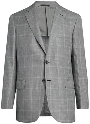 Brioni Windowpane Wool-Blend Suit Jacket