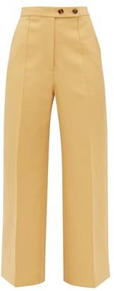 KHAITE Yasmin Wide-leg Cotton Trousers - Womens - Beige