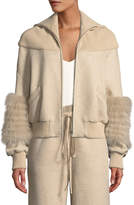 Sally Lapointe Zip-Front Dropped-Shoulder Cotton Jersey Bomber Jacket w/ Fox Fur