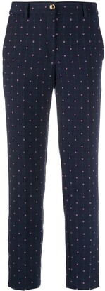 Boutique Moschino Tulip-Embroidered Slim Trousers