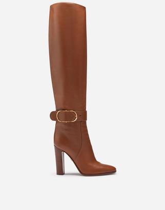 Dolce & Gabbana Boots In Foulard Calfskin With Decorative Buckle