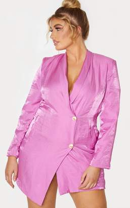 PrettyLittleThing Plus Pink Pleated Shimmer Gold Button Blazer Dress