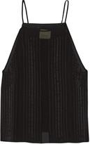 Michelle Mason Satin-trimmed silk top