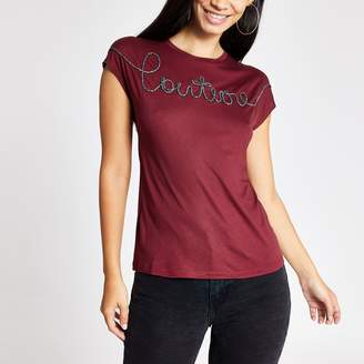 River Island Womens Dark Red 'Couture' embroideRed T-shirt