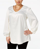 Melissa McCarthy Trendy Plus Size Puff-Sleeve Top