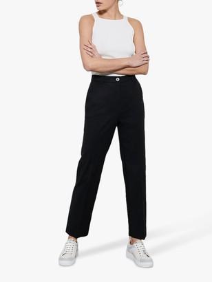 Mint Velvet Buttoned Capri Trousers, Black