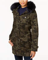BCBGeneration Camo-Print Faux-Fur-Trim Coat