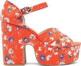 Miu Miu Daisy-print Twill Platform Sandals - Womens - Red