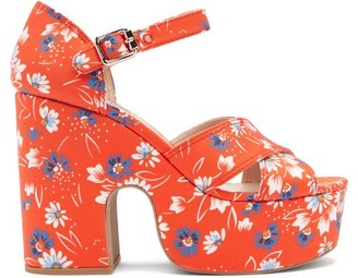 Miu Miu Daisy-print Twill Platform Sandals - Red