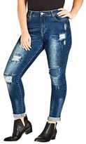 City Chic Plus Size Women's Patched Apple Skinny Jeans