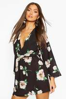 boohoo Floral Print Knot Front Wrap Dress