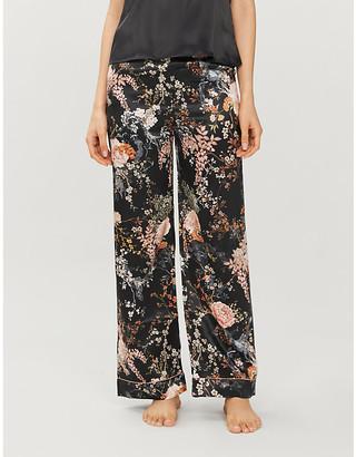 Selfridges Floral-print silk-satin pyjama trousers