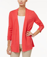 Charter Club Petite Honeycomb-Stitch Open-Front Cardigan, Only at Macy's
