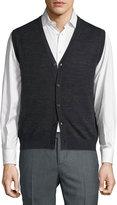 Neiman Marcus Wool-Blend Knit Button Vest, Shadow