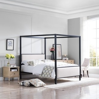 BEIGE Noble House Draelyn Traditional Fabric Canopy Queen Bed with Iron Frame, and Flat Black