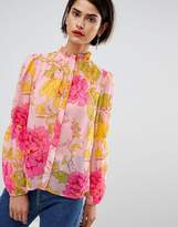Asos Blouse With Ruffle High Neck In Bright Pink Retro Floral