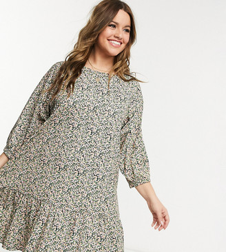 ASOS DESIGN Curve mini smock dress with tiered hem in ditsy print