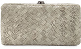 Neiman Marcus Woven Reptile Faux-Leather Clutch Bag, Light Gray