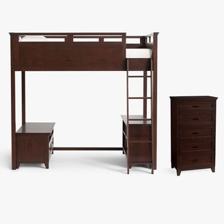 Pottery Barn Teen Hampton Loft Bed with Media & Bookcase Set & 5-Drawer Tall Dresser Set