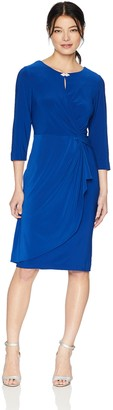 Alex Evenings Women's Shift Dress with Front Knot and Keyhole Cutout (Petite and Regular Sizes)