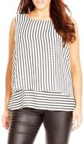 City Chic Plus Size Women's Stripe Sleeveless Layered Top