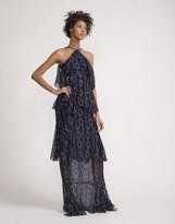 Cynthia Rowley Printed Silk Swiss Dot Maxi Ruffle Dress