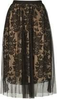 Izabel London Floral Mesh Overlay Skirt