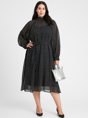Banana Republic Velvet Dot Midi Dress